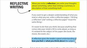 writing a reflection youtube