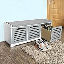 storage bench file cabinet amazon com sobuy storage bench with 3 drawers u0026 seat cushion