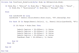 excel vba the node click event of treeviews