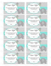 elephant baby shower diaper raffle ticket diaper raffle card