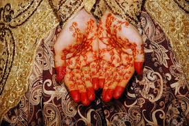 henna on hands of indonesian wedding bride stock photo picture