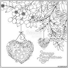 vector decorative love heart vintage flowers card