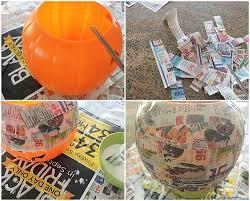 Paper Mache Pumpkin Day Of The Dead Paper Mache Trick Or Treat Pail Diy Inspired