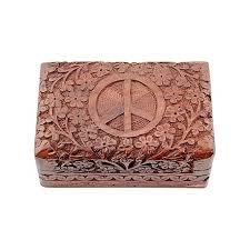 4x6 Photo Box Peace Sign Carved Wooden Box 4