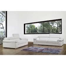 canapé cuir blanc 3 places ensemble canapé 3 2 places en cuir blanc achat vente