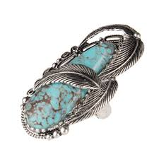 silver rings with images Shop silver ring with turquoise stone feather wrap jpg