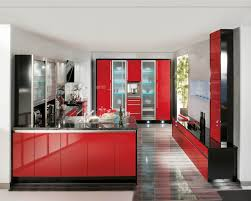 Red And Black Kitchen Cabinets by Comely Red Color High Gloss Kitchen Cabinets With Black Color