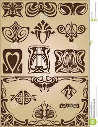 nouveau elements and corners design ornament royalty free