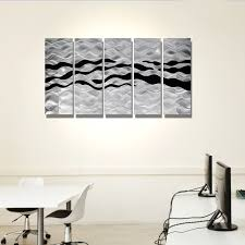 onyx oceana silver and black metal wall art 5 panel wall decor onyx oceana silver and black metal wall art 5 panel wall decor by jon allen 64