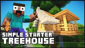 minecraft how to build a simple starter treehouse youtube