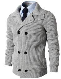 mens casual knitted slim fit breasted cardigan sweater