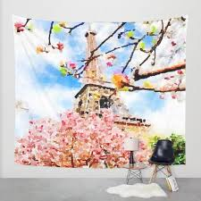 paris in early spring watercolor painting print wall tapestry