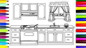 how to draw kitchen cupboards coloring pages for kids art
