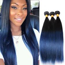 ombre hair weave african american peruvian straight hair blue ends human hair weave 3pcs remy hair