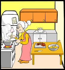 maman baise en cuisine grand mère dans la cuisine illustration de vecteur illustration