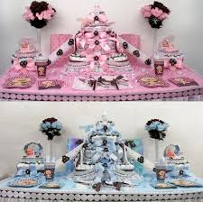 baby shower favor cake blue pink and brown half sheet diaper cake