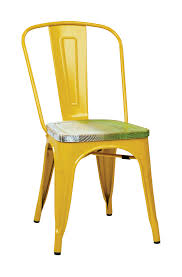 Osp Designs Osp Designs Bristow Metal Chair With Vintage Wood Seat Yellow