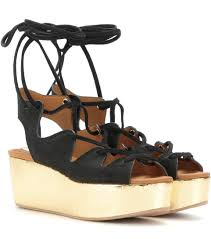 see by chloé liana black suede lace up wedge sandal in aqua modesens
