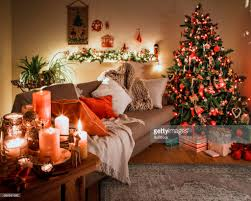 danish christmas tree with traditional decorations stock photo