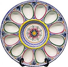 egg plate ceramic deviled egg plate from spain multicolor