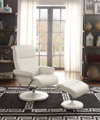 White Leather Chair With Ottoman Amazon Com Homelegance 8550wht 1 Swivel Reclining Chair With