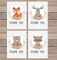 woodland thank you cards printable cards with fox moose