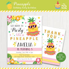 party like a pineapple invitation girls hawaii luau tropical