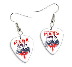 seconds earrings printed guitar picks shop products band products earrings