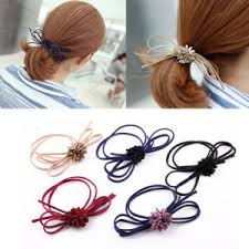 elastic hair bands china fashion hair accessories beaded elastic hair ties for women