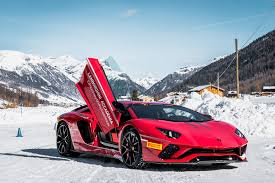 car lamborghini red the lamborghini winter accademia a dance on thin ice