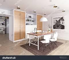 modern dining room interior 3d rendering stock illustration