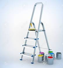 metal stairs stepladder and paint for maintenance 3d illustration