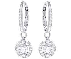 white earrings sparkling pierced earrings white rhodium plating