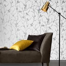 Design House Skyline Yellow Motif Wallpaper Gray Wallpaper Silver Wallpaper Grey