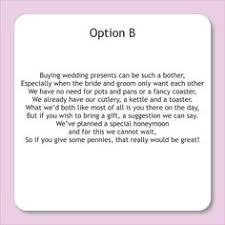 wedding registry donations wording for wedding invitations asking for money search