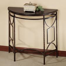 furniture intriguing black demilune table with glass top