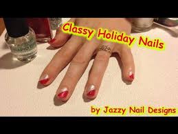 christmas holiday nail art classic red and white nail art design