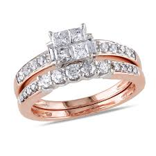 Walmart Wedding Ring Sets by 14k White Gold I1 I2 Multi Shape Diamonds Bridal Set 1 Ctw