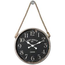 charming hanging wall clock with leather strap hanging wall clock