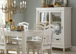 gathering dining table with rubbed linen white finish solid rubberwood