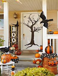 attractive front porch halloween decoration design with climbing
