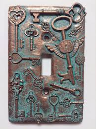 custom light switch covers amazon com keys steunk stone copper patina light switch cover