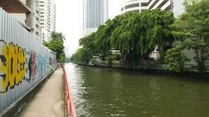 City Backyard Painted Profiled Sheet Fence At Canal Bank Green Trees City