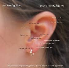 hoop cartilage earrings sizing chart for tiny hoop earrings l mystic moon shop inc for