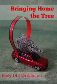 bringing home the tree car ornament diy craft thrifty
