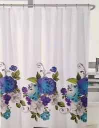 Blue Ruffle Shower Curtain New Cynthia Rowley Miss Friday Purple U0026 Blue Roses Fabric Shower