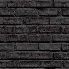 industrial look black brick effect wallpaper 10m roll flat