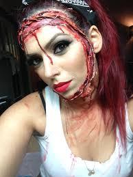 halloween makeup blood stitched on face halloween make up u2013 kara delfino make up artist