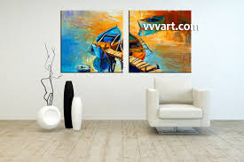 Living Room Paintings 2 Piece Canvas Boat Ocean Oil Paintings Yellow Pictures
