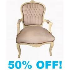 shabby chic faux suede chair in beige with cream frame